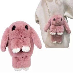 Bunny Rabbit Stuffed Plush Crossbody Bag Backpack